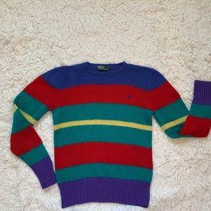 Vintage 80s Ralph Lauren polo stripe wool sweater